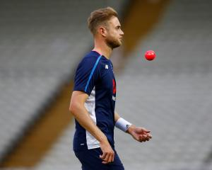 Stuart Broad practices with the pink ball in the nets for England. Photo: Reuters
