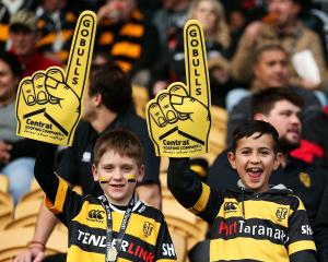 Taranaki fans show their support during the round one Mitre 10 Cup match between Taranaki and...