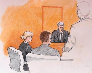 A sketch of Taylor Swift and her attorneys in Denver Federal Court with plaintiff David Mueller....