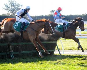 Jockey Shaun Phelan hangs on to  Upper Cut (right) as he and  Kina Win, with  Stuart Higgins...