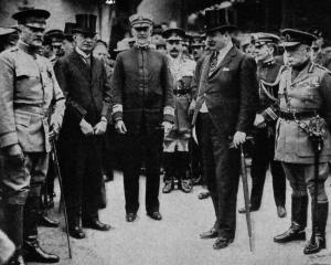 The United States Army chief, General Pershing (left), arrives in Liverpool. Others in the group...