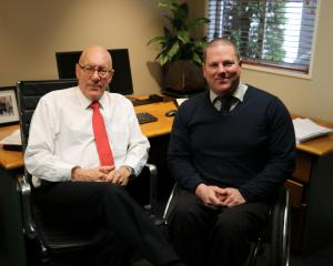 New Wanaka ward Queenstown Lakes District councillor Quentin Smith (right) with Mayor Jim Boult,...