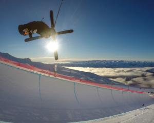 Wanaka skier Nico Porteous gets some big air off the half-pipe at  Cardrona Alpine Resort during...