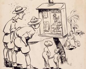 F. D. Choate's 1943 pen-and-ink cartoon Lure of the islands satirised many people's idea of the...