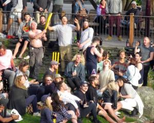 Revellers at last year's impromptu Crate Day party in Queenstown. Photo: Philip Chandler.