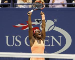 Sloane Stephens celebrates her win over Venus Williams. Photo Geoff Burke-USA TODAY