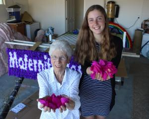 Jenny (left) and Amy O'Brien hold some of the thousands of  crepe paper blossoms which will adorn...
