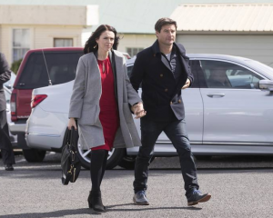 Labour leader Jacinda Ardern and partner Clarke Gayford arrive at St David's Cooperating Parish...