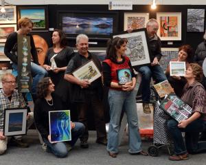 Otago Art Society artists (from left) Pauline Bellamy, Raimo Kuparinen, Marie Reid, Jane Trotter,...