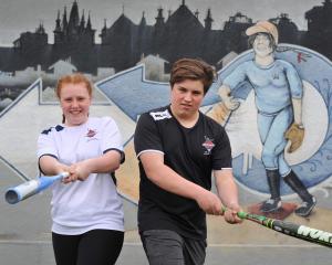 Otago national softball squad members  Kaitlyn Hastie and Callum Rowley at Ellis Park this week....