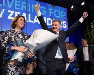 Bill English celebrates with his wife Mary. Photo:NZ Herald