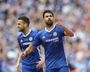 Diego Costa celebrates scoring for Chelsea in last season's FA Cup final. Photo: Getty Images