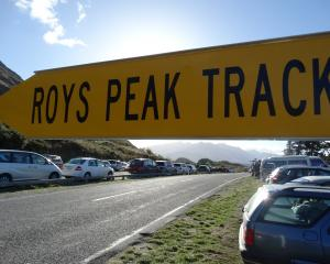 The overflowing car park in Mt Aspiring Rd, Wanaka, at the start of the Roys Peak track. Photo: ODT.