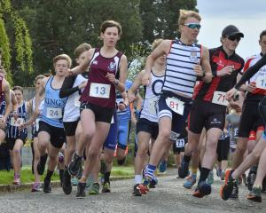 The field for the Otago schools duathlon at Mosgiel over the weekend breaks from the starting...