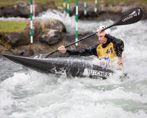Central Otago kayaker Finn Butcher prepares in Pau in southern France for the world canoe slalom...