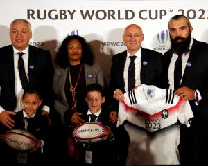 Claude Atcher, director of the French Bid for the 2023 Rugby World Cup, Laura Flessel, Minister...
