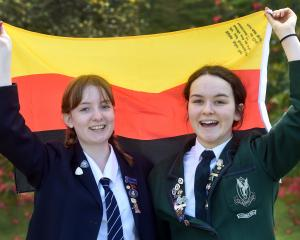 Otago Girls' High School pupil Lucy Pollock (left) and Columba College pupil Lydia Christensen...
