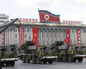 North Korean rocket launchers seen during a military parade. Photo: Getty Images