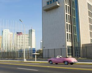 The U.S Embassy in Havana, Cuba which reopened for the first time since 1961 last year. Photo...