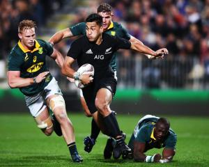 Rieko Ioane on the charge for the All Blacks against South Africa. Photo: Getty