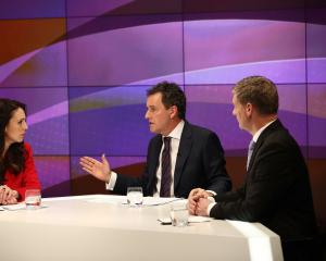 Presenter Mike Hosking chairs the TVNZ leaders debate between Labour leader Jacinda Ardern and...