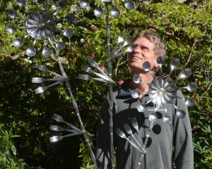 Glenfalloch gardener Alan Funnell with the sculpture he built from old cutlery for the...