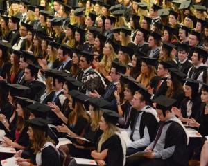 Graduates at the first of the University of Otago graduation ceremonies at the Dunedin Town Hall...