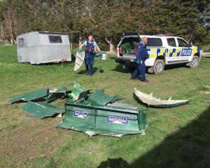 Police recover the pieces of the stolen jet boat. Photo: NZ Police
