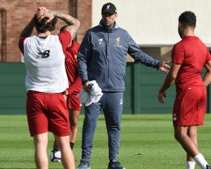 Juergen Klopp makes a point at Liverpool training. Photo: Getty Images