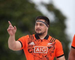 Kane Hames at All Blacks training yesterday. Photo: Getty Images