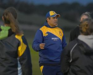 Kane Jury coaches the Otago Spirit at Hancock Park on Tuesday night. Photo: Gregor Richardson
