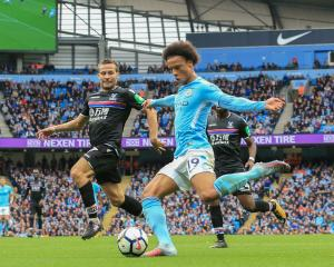 Leroy Sane looks to strike for Manchester City against Crystal Palace. Photo: Getty Images