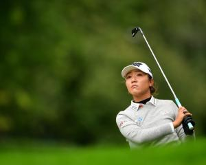 Lydia Ko in action at the Evian Championship before the players were forced off due to rain....