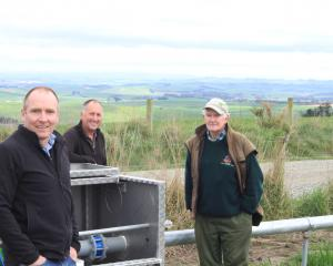 North Otago Irrigation Company technical manager Ben Stratford (left), chairman Leigh Hamilton,...