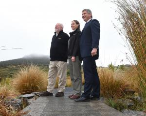 Happy with a  new funding  agreement for the Orokonui Ecosanctuary are (from left) Otago Natural...