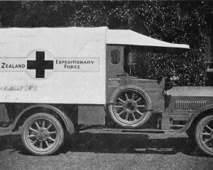 One of the three ambulances presented to the New Zealand Expeditionary Force by the Red Cross and...