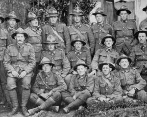 Otago and Southland snipers, somewhere in France. Back row: N. Hardwick, W. Holdway, McIntyre,...