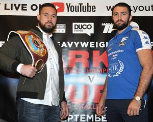 Joseph Parker (left) and Hughie Fury at their pre-fight press conference. Photo: Getty Images
