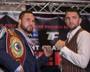 Joseph Parker (left) and Hughie Fury in the lead up to their world title fight. Photo: Getty Images
