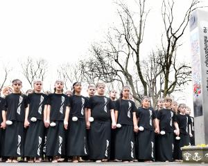 Members of the Musselburgh School kapa haka group perform at the Dunedin Peace Pole, at the Otago...