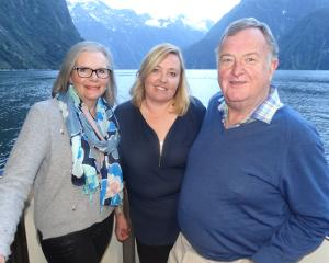 Ngaire Hayes (left) , of Queenstown, Marie Wales, from Cancer Society Otago, and Simon Hayes, of...