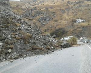 The Crown Range Rd reopened yesterday afternoon after Friday's landslip. Photo: Downer.
