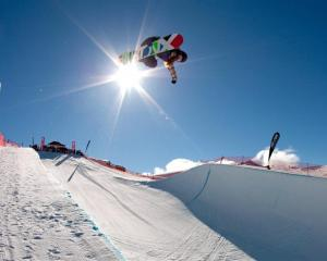 Rana Okada, of Japan, in her women's halfpipe qualifying run at Cardrona yesterday. Photo by...