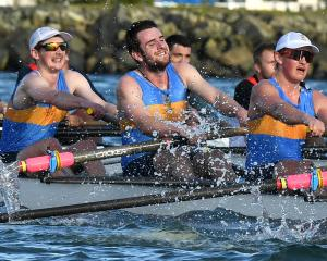 Otago University rowers (from left) Ari Palsson, Bill Peereboom, Todd Bezett, Riley Bruce, Kyle...