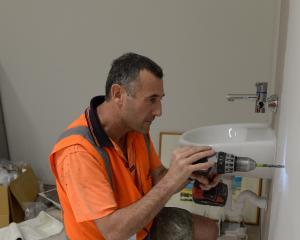 Marathon runner Peter Frew on the building site at Dunedin Hospital yesterday. Photo: Linda...