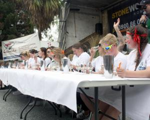 The 10 finalists in the Perfect Woman competition take part in the wine tasting event at the...