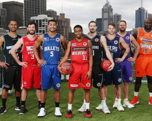 The ANBL captains (from left) Mika Vukona (NZ Breakers), Kevin White (Illawarra Hawks), Stephen...