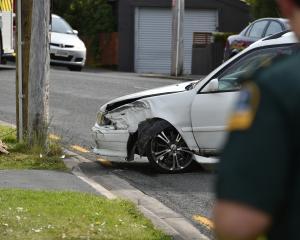 "The scene of a crash on South Rd earlier today. Photo"" Gregor Richardson"