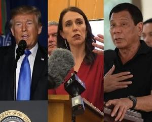 US President Donald Trump, NZ Prime Minister-elect Jacinda Ardern and Philippines President...