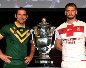 Australian captain Cameron Smith (left) and England captain Sean O'Loughlin with the Rugby League...